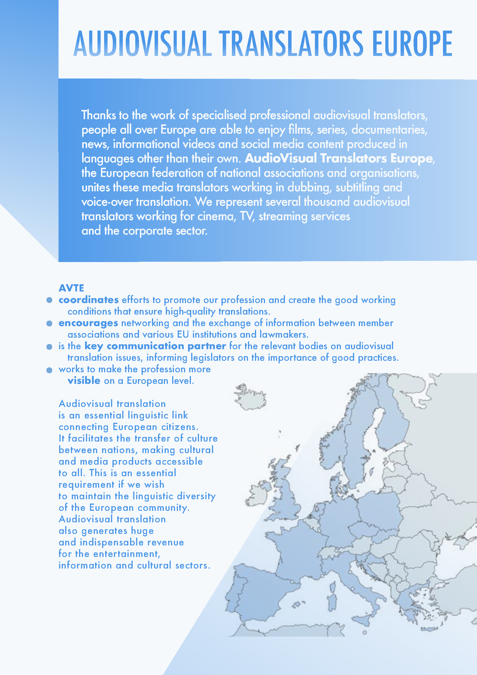 AVTE brochure – The audiovisual translation ecosystem in Europe